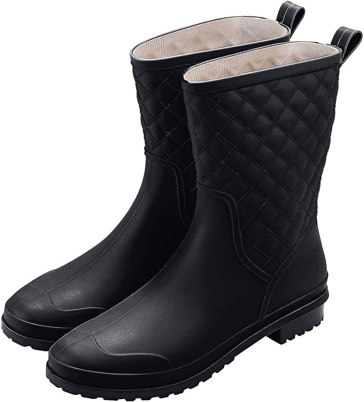 Yvmurain Womens Waterproof Mid-Height Rain Boot Rubber Garden rain Shoes