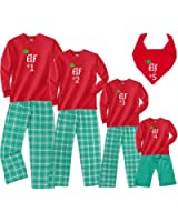 Footsteps Clothing Elf #1, 2, 3, ETC. Holiday Family Christmas Adult Pajamas & Kids Playwear; Choose Kid, Adult, or Dog