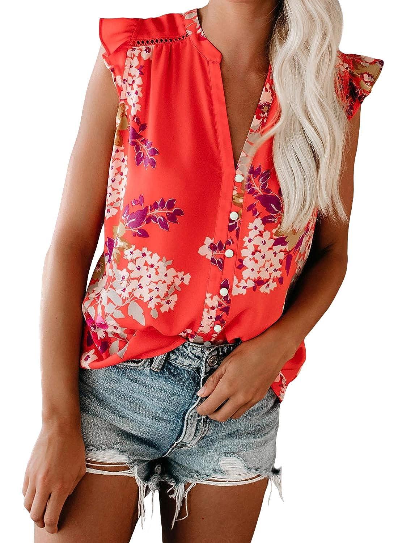 Eytino Women Summer V Neck Floral Print Tank Tops Casual Loose Ruffle Sleeveless Blouse Shirts S-XXL