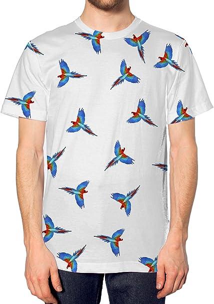 Diseño de Aves y en Toda la Superficie T-Camiseta de Manga Corta diseño de pájaros de Perro de Peluche con Tropical Birdie para Caza con Forma de Indie Festival Bufanda: Amazon.es: Ropa