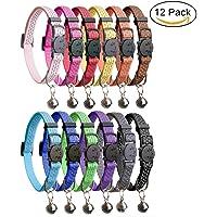 """HOMIMP 12PCS Katze Halsbänder Quick Release Reflektierende Sicherheit Nylon Halsbänder mit Glocke 20,3cm–12"""""""