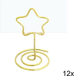 EinsSein 12x Tischkartenhalter Hochzeit Stern Wired Gold small- Tischkartenhalter Weihnachten Hochzeit Party