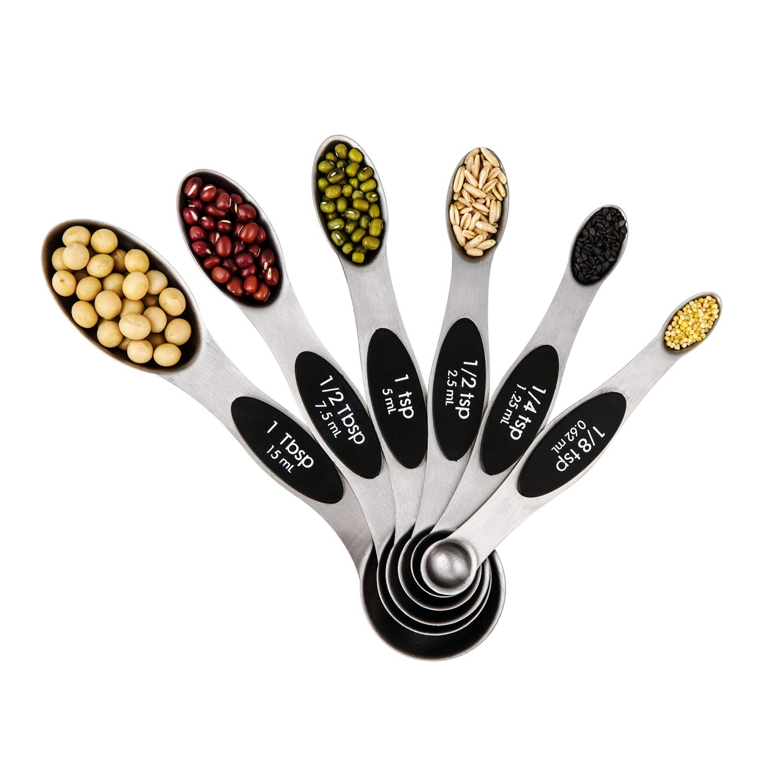 Magnetic Measuring Spoons Set, Dual Sided, Stainless Steel, Fits in Exact Measurement of Ingredients for Cooking & Baking and Spice Jars, Set of 6