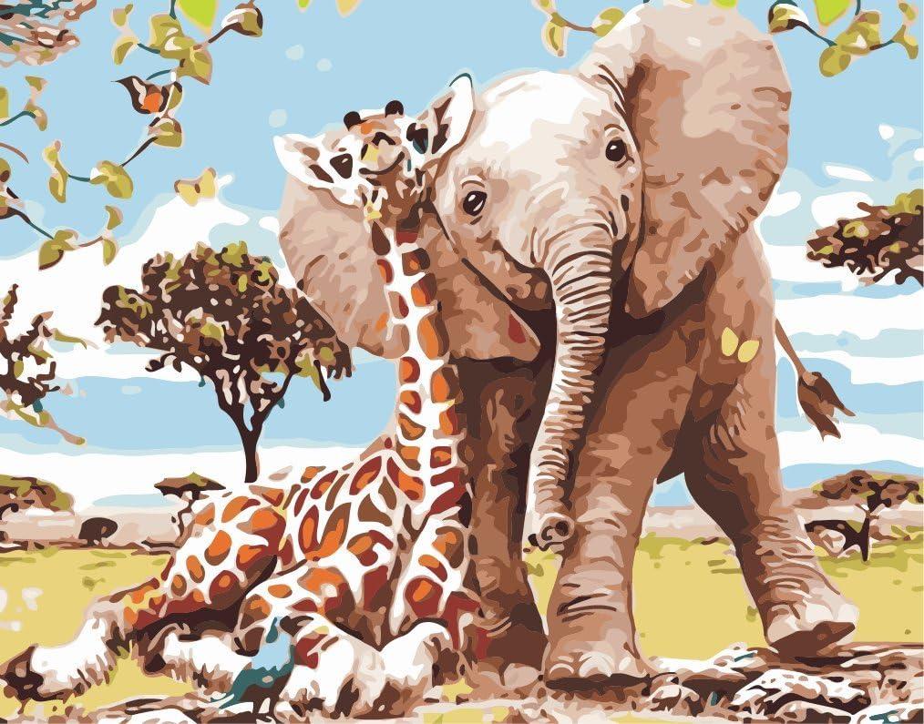 Fuumuui Lienzo de Bricolaje Regalo de Pintura al óleo para Adultos niños Pintura por número Kits Decoraciones para el hogar-Elefante y Jirafa 16 * 20 Pulgadas