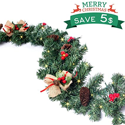 Christmas Garland With Light Christmas Wreaths Garland Decorations With Red Berries Pine Cones Bows Ornaments For Indoor Outdoor Xmas Decor 157