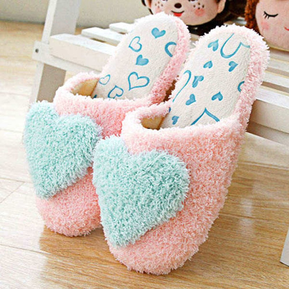 HuaYang 3D Love Heart Antislip Plush Velveteen Cotton Foot Feet Slippers for Home Travel(Size: 40-41 , Blue)