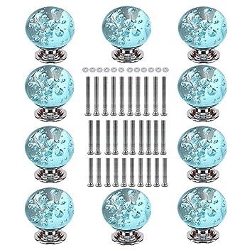 TLBTEK 10 Crystal Drawer Knobs, 10 X 30mm Aqua Blue Bubble Crystal Glass  Kitchen Cabinet