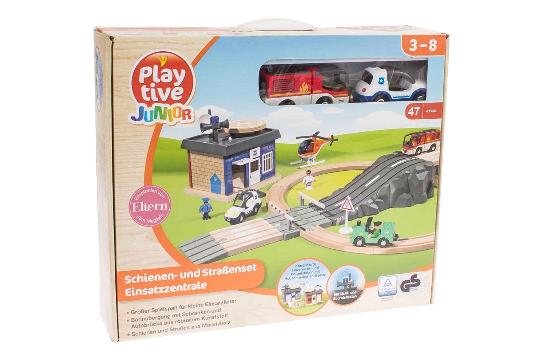 Playtive Junior Schienen und Straßenset Einsatzzentrale 1011768