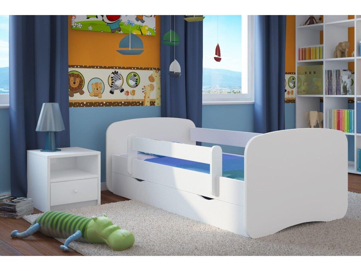 160x80 Animali White Cars Wonderhome24/Bianco Lettino con Materasso e stoccaggio Inclusi Kids Junior Letto per Bambini 1