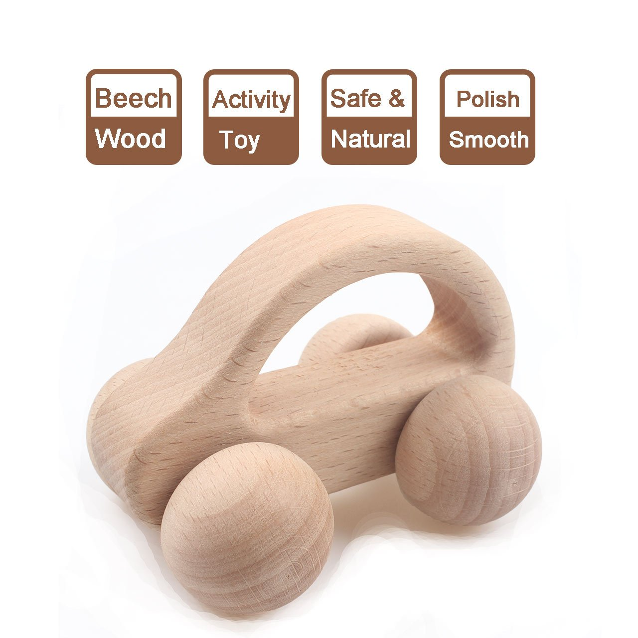 Baby Teether Toy Handmade Natural Wooden Chewy Organic Teething Ring 6A