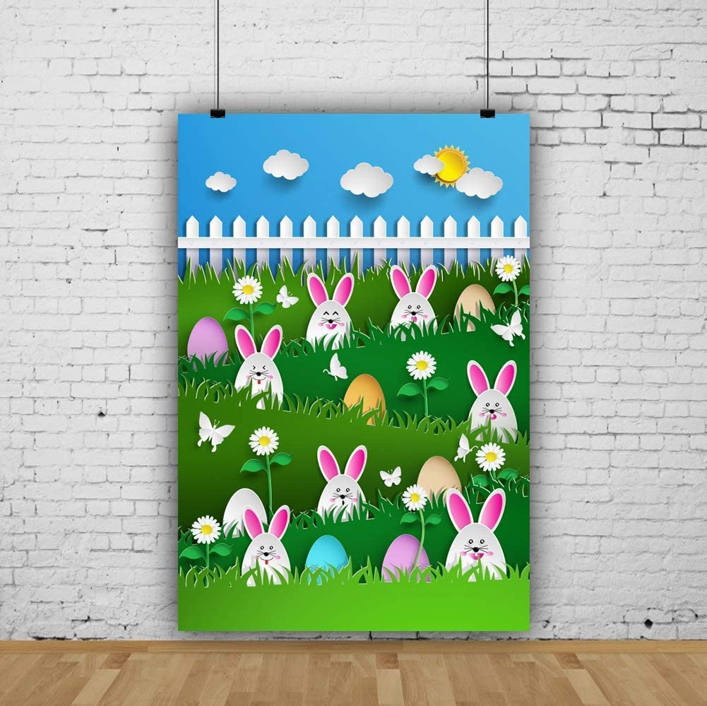 8x10ft Cartoon Happy Easter Backdrop Colorful Easter Eggs Rabbits Bunnies Photography Background Grass Wood Fence Sky Backdrop Kids Children Adults Portraits Photo Booth Video Studio Props