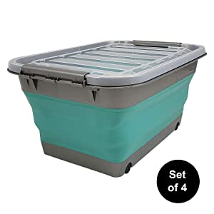 Homz Store N Stow(TM) 17 Gallon Latching Container with Wheels, Grey and Teal Base with Clear Lid Collapsible Storage, (Pack of 4)