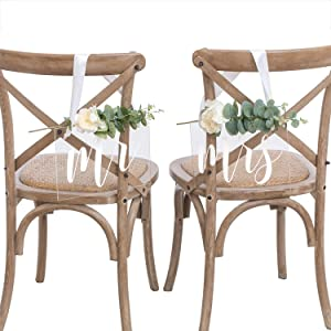 Ling's moment Handmade Acrylic Wedding Chair Signs Mr and Mrs Chair Signs Chair Decor for Wedding Set of 2