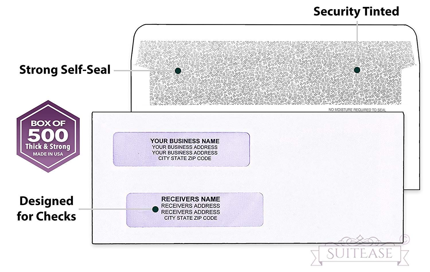 500#8 Flip and Seal Security Check Envelopes, Double Window for Addresses, Inner Security, Designed for Quick-Books Printed Checks, Perfect Fit Laser Checks - Number 8 Size 3 5/8 Inch x 8 11/16 Inch by SuitEase