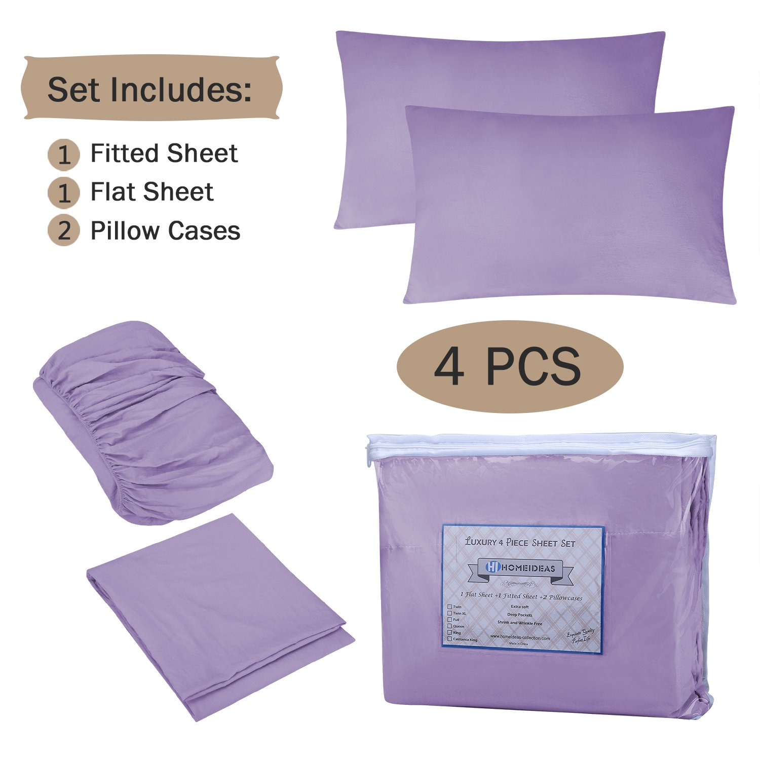 HOMEIDEAS 4 Piece Bed Sheet Set Queen, Lavender