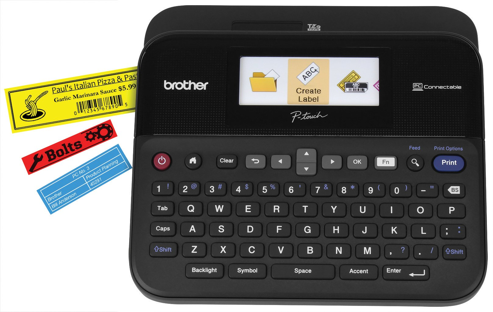 Brother P-touch Label Maker, PC-Connectable Labeler, PTD600, Color Display, High-Resolution PC Printing, Black