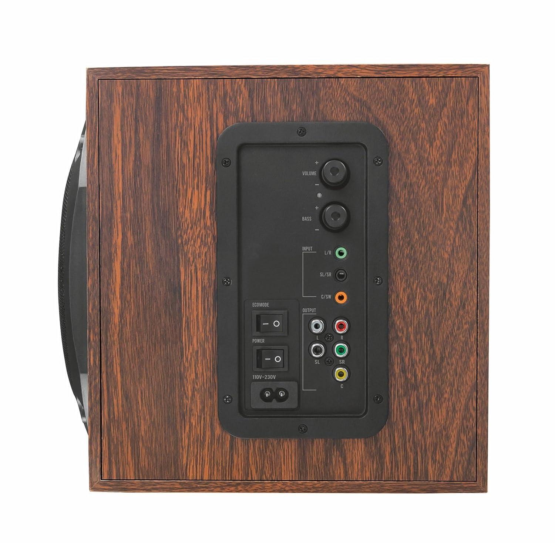 150 Watt Bois Noir Trust Vigor Enceinte PC 5.1 avec Caisson de Basses pour Ordinateur