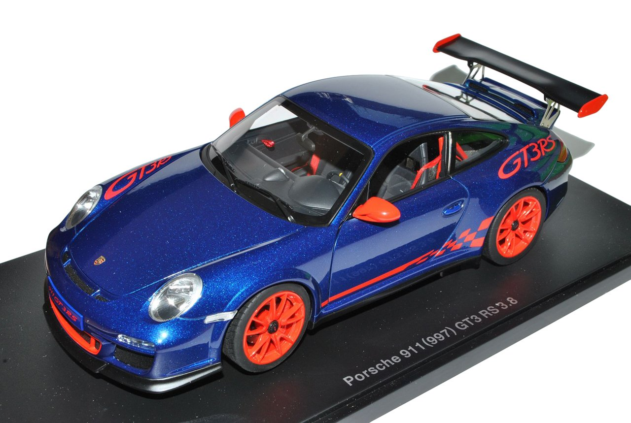 AUTOart Porsche 911 997 GT3 RS 3.8 Blau mit Rot 2004-2012 78144 1/18 Modell Auto