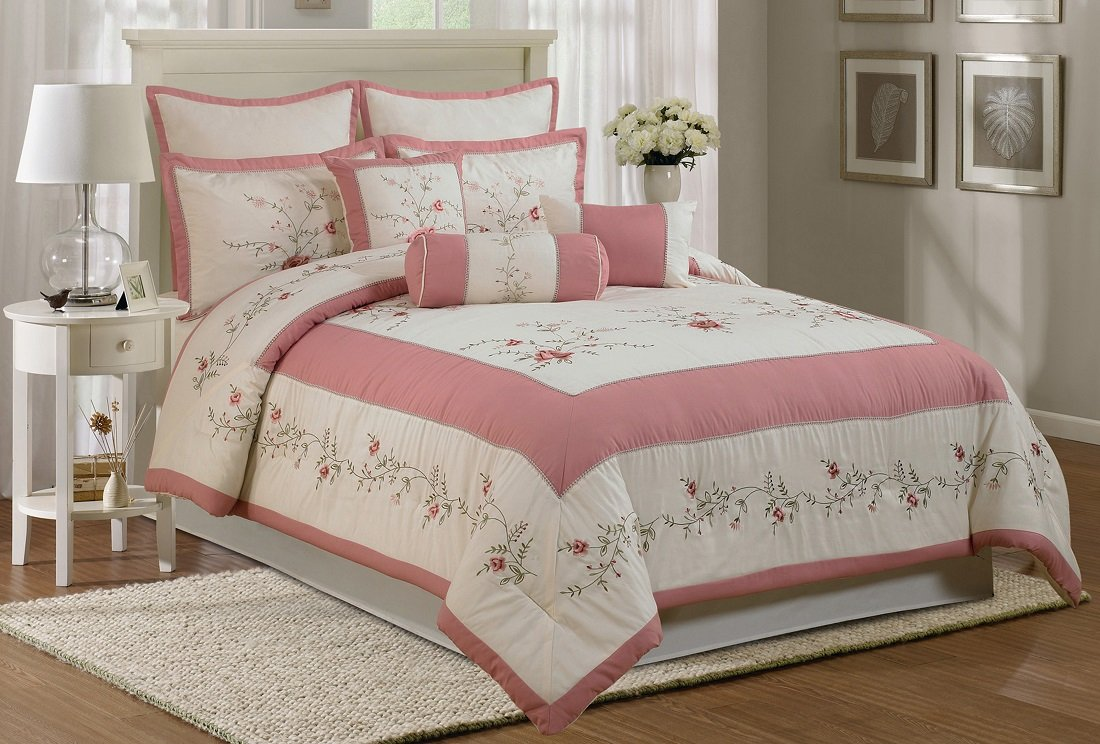 Chezmoi Collection 7-Piece Embroidery Rose Comforter Set Queen, Ivory Pink