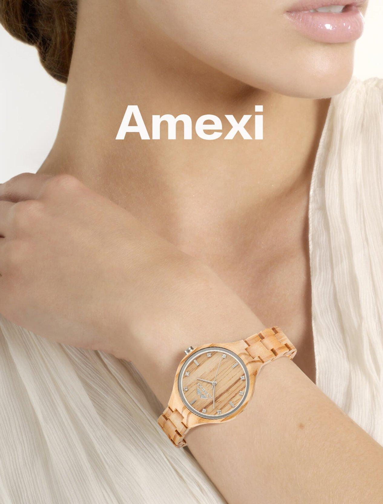 AMEXI Orologio da Polso Donna in Legno, Movimento al Quarzo con Banda di Legno