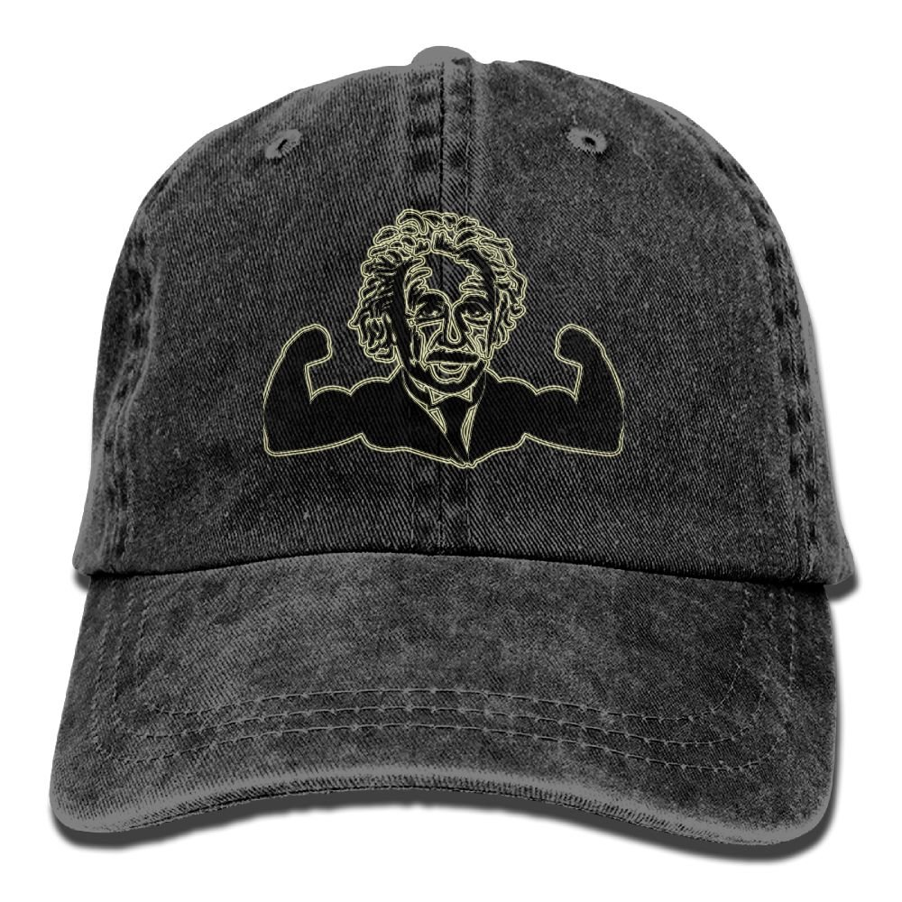 Cute Muscle Einstein Trend Printing Cowboy Hat Fashion Baseball Cap For Men and Women Black