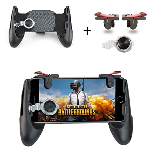 Newseego PUBG Mobile Game Controllers, Phone Triggers for Mobile Phone, Shooter Sensitive Controller Joysticks Gamepad for PUBG/Knives Out/L1R1(1 Pair Triggers + 3 in 1 Portable Gamepad)