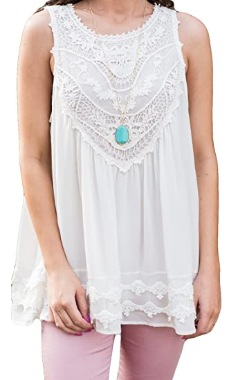 f5ee357787d78 POGTMM Women s Summer Casual Sleeveless Lace Tops Lace Trim Tunic Tops  Chiffon Blouses (S(