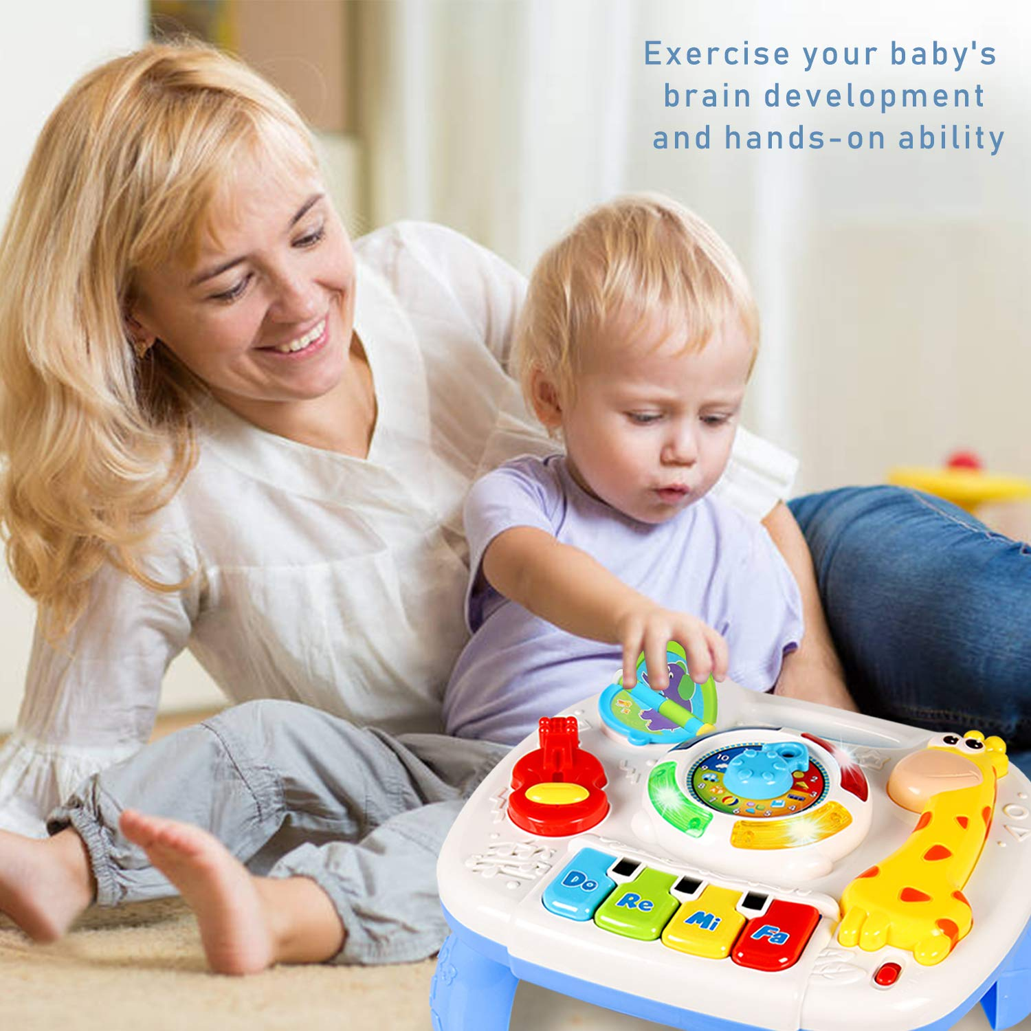 HOMOFY Baby Toys for 6-12 Month Baby Musical Learning Activity Table ,Built-in Animal Sounds, Music & Light Function,Early Development Baby Pull Toy for 1 2 3 Year Old Best Gift for Boys and Girls by HOMOFY (Image #2)