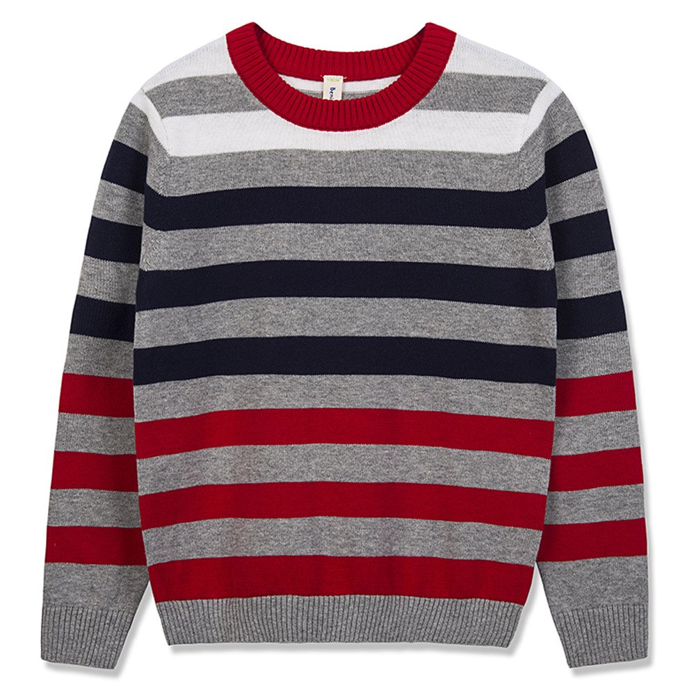 Benito & Benita Boy's Pullover Sweater Crew Neck Cotton Sweater Casual Style with Stripes for Boys/Girls Navy 3-12Y