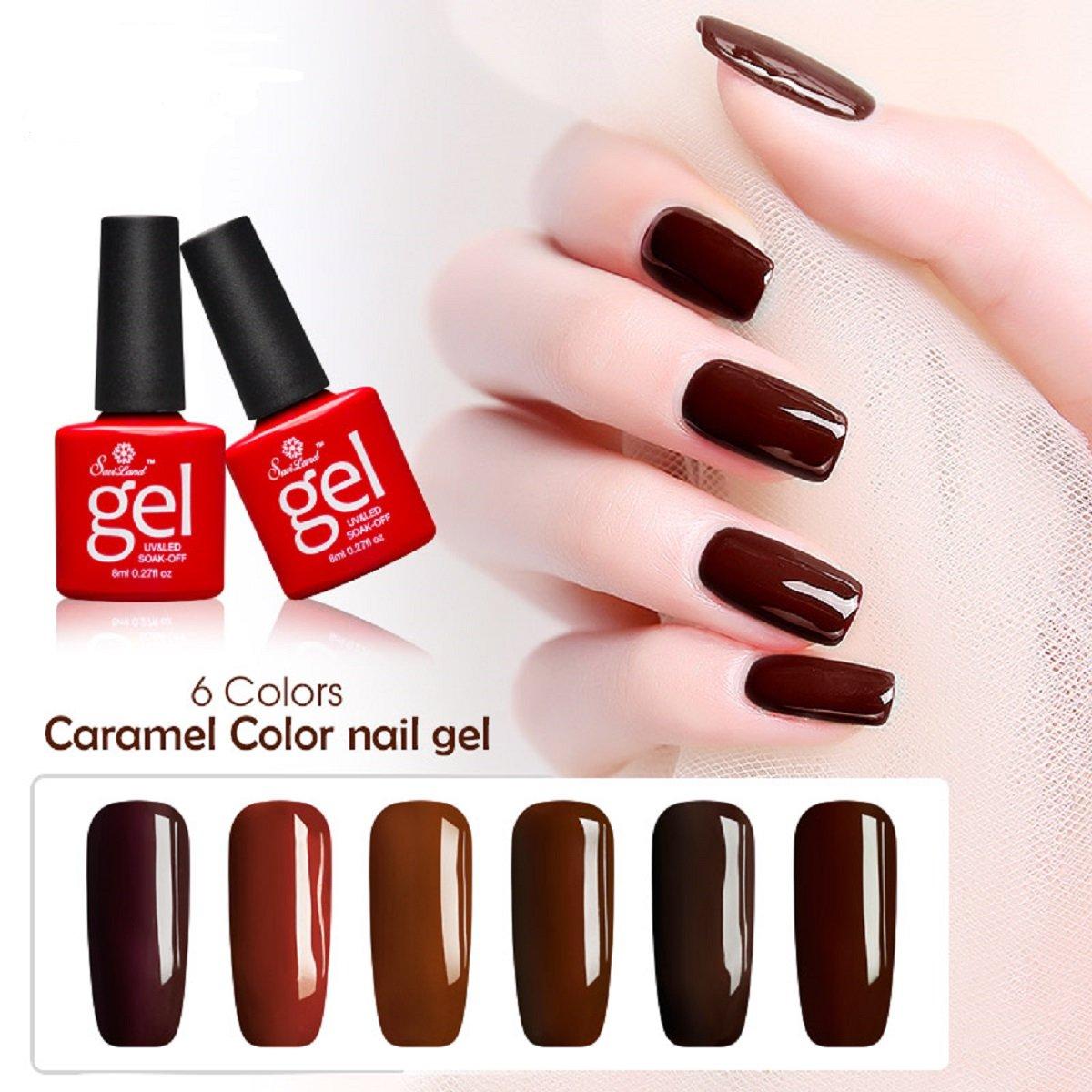Soak off Gel Nail Polish Sets, Saviland 6 Pcs UV Nail Varnish Set DIY Nail Art Starter Manicure Kit 8ml(Caramel Brown colour)