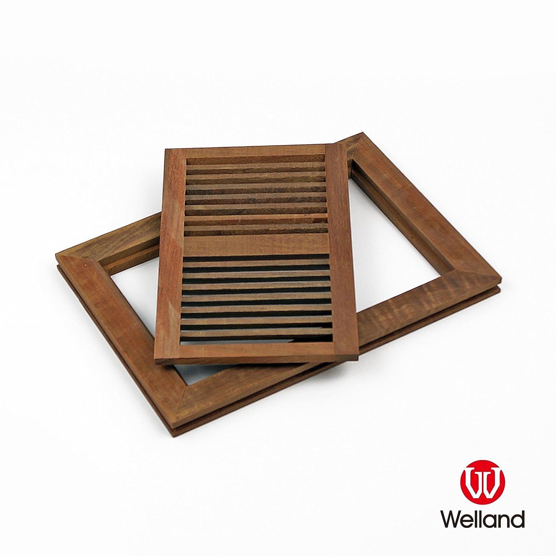 WELLAND 6 Inch x 12 Inch Brazilian Walnut Flush Mount Wood Vent Floor Register Unfinished