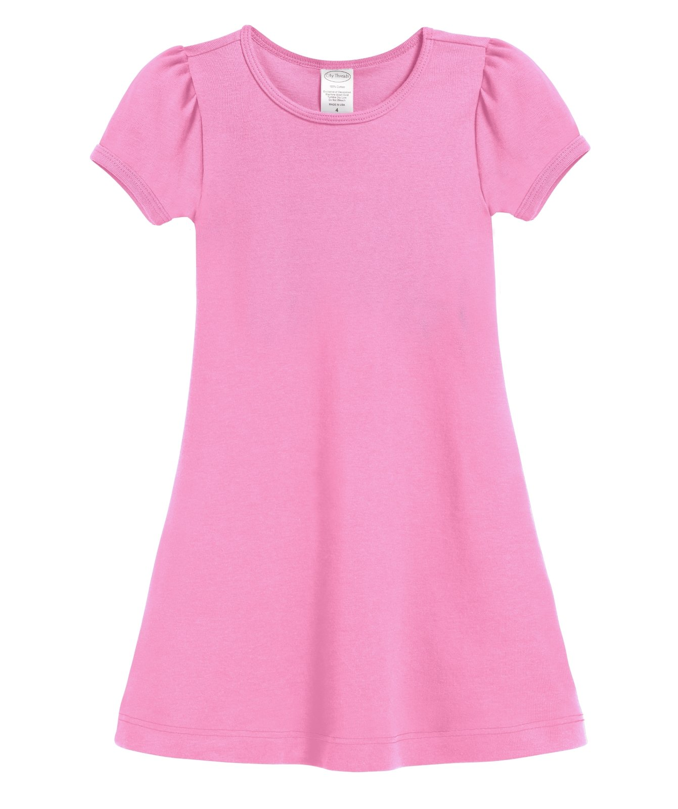 City Threads Girls' Short Sleeve A-Line Puff Sleeve Party Dress for Sensitive Skin/SPD/Sensory Friendly for School Or Play Fall Spring Summer, Bubblegum, 7