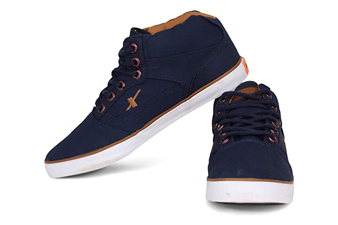 ed02def6a Sparx Men s Navy Blue Tan Canvas Shoes -8 UK  Buy Online at Low Prices in  India - Amazon.in