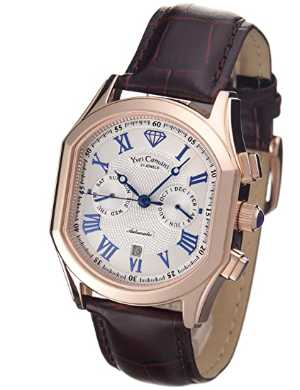 Yves Camani Yc1012-D - Reloj de caballero automático, correa de piel color marrón