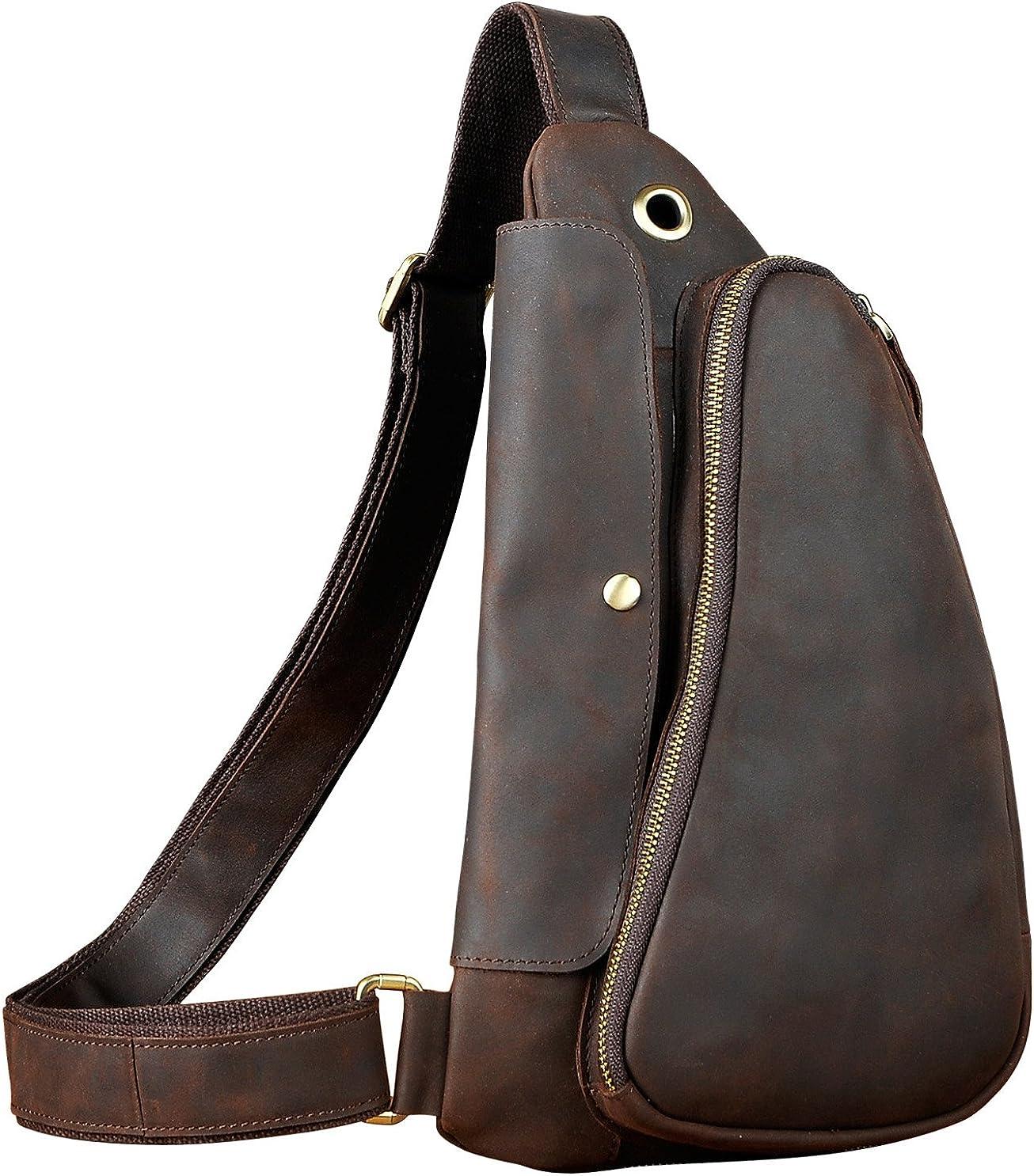 Le aokuu Mens Fashion Casual Tea Designer Travel Hiking Crossbody Chest Sling Bag Rig One Shoulder Strap Bag For Men Leather