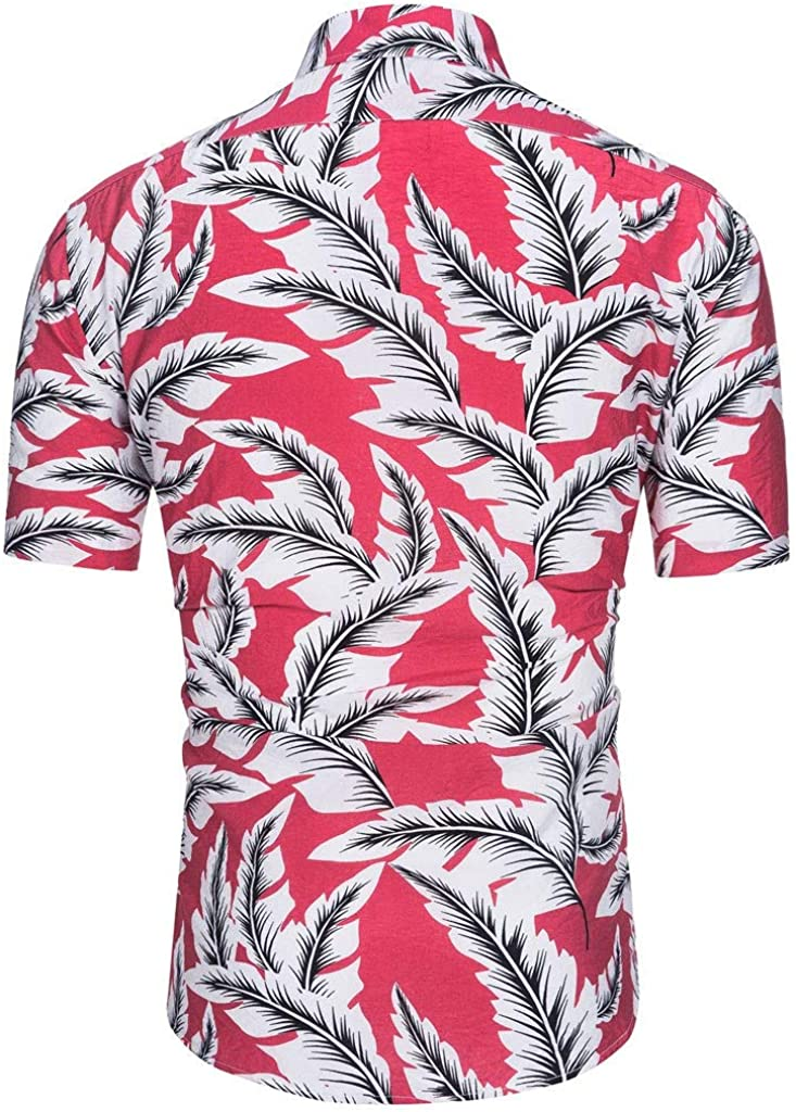 Shirts for Men Stand Collar Hawaii Holiday Floral Button Down T Shirt Short Sleeve Office Undershirt