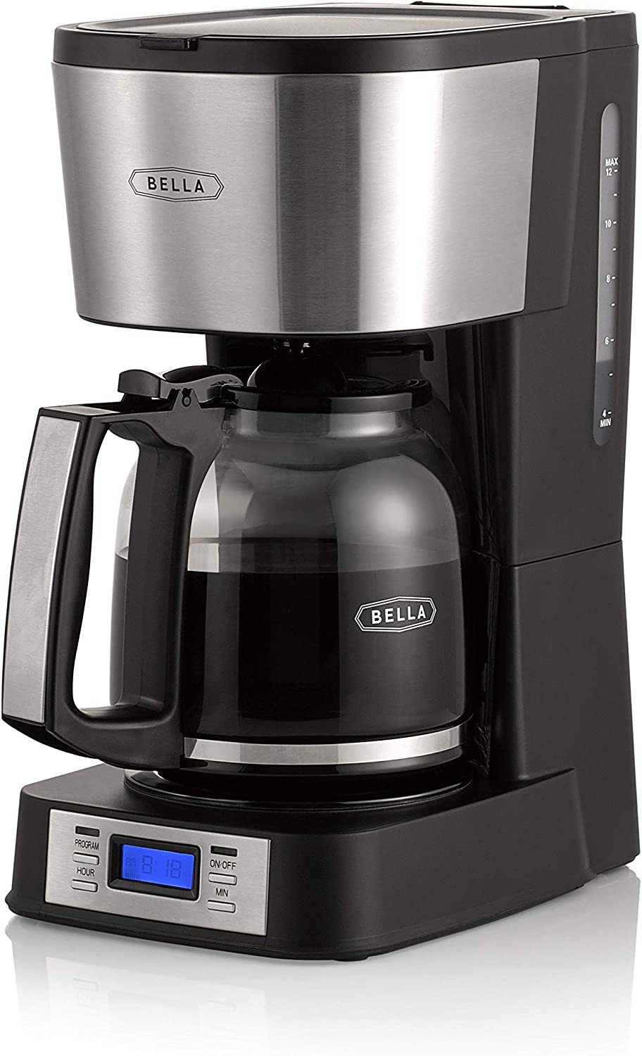 BELLA (14755) 12 Cup Coffee Maker with Brew Strength Selector & Single Cup Feature, Stainless Steel
