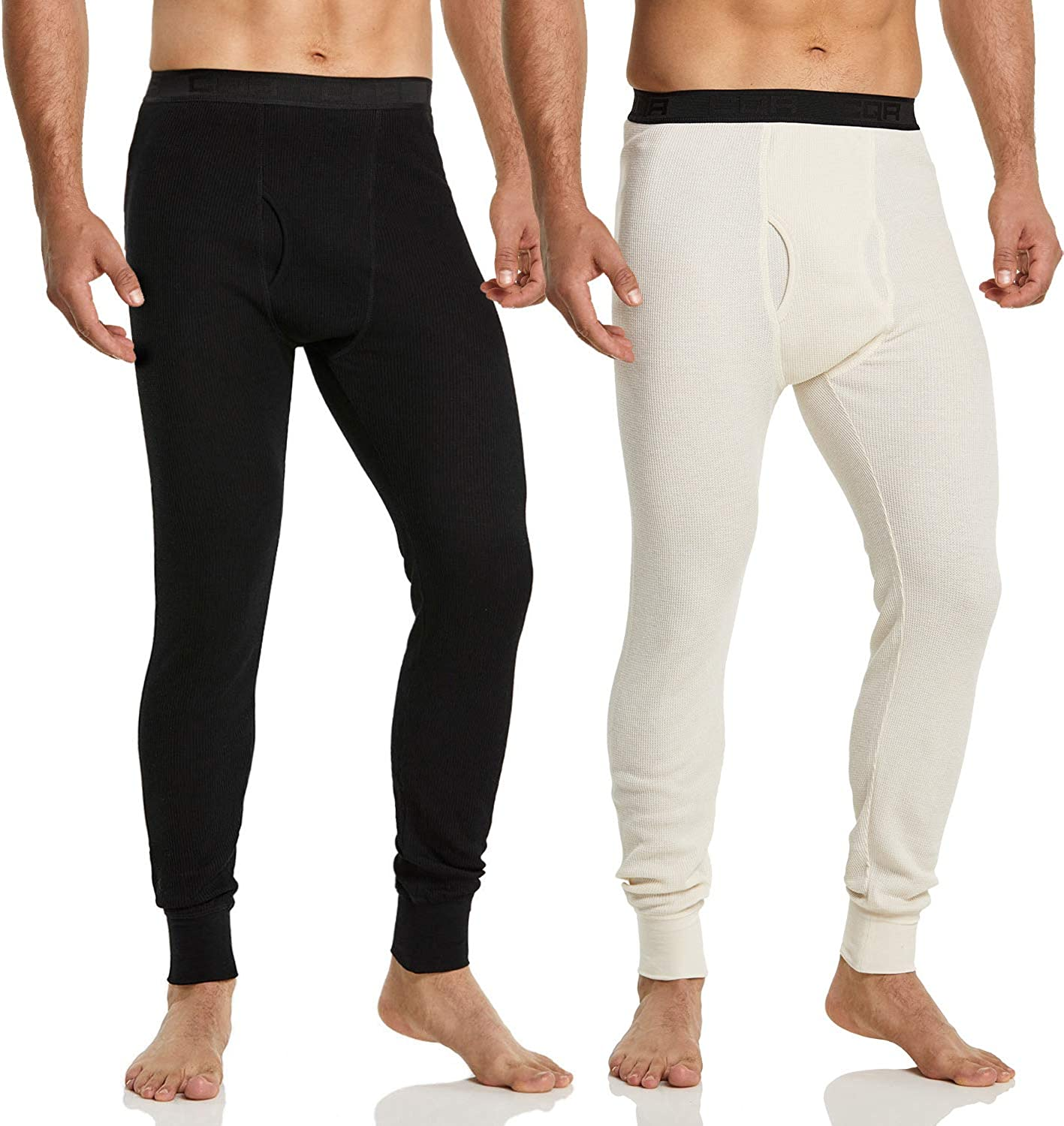 CQR Men's (Pack of 1, 2) Waffle Bottom Underwear Long Johns Stretchy Thermal with Fly