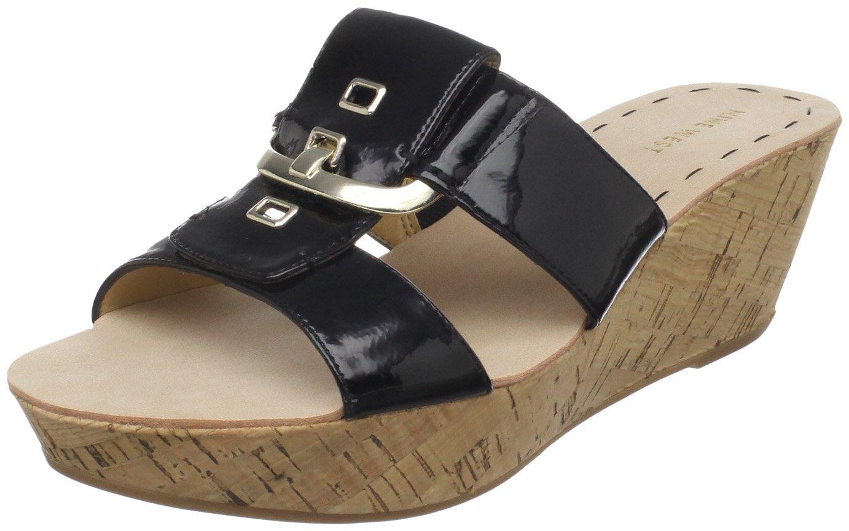 Nine West Women's Heartful Wedge Sandal B004BK0UE6 7.5 B(M) US|Black Patent Polyurethane