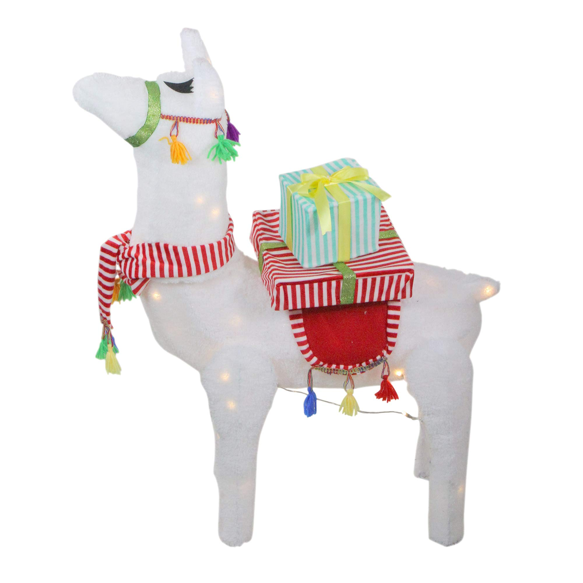 Northlight 31'' LED Lighted Plush Fabric Llama with Gifts Christmas Outdoor Decoration