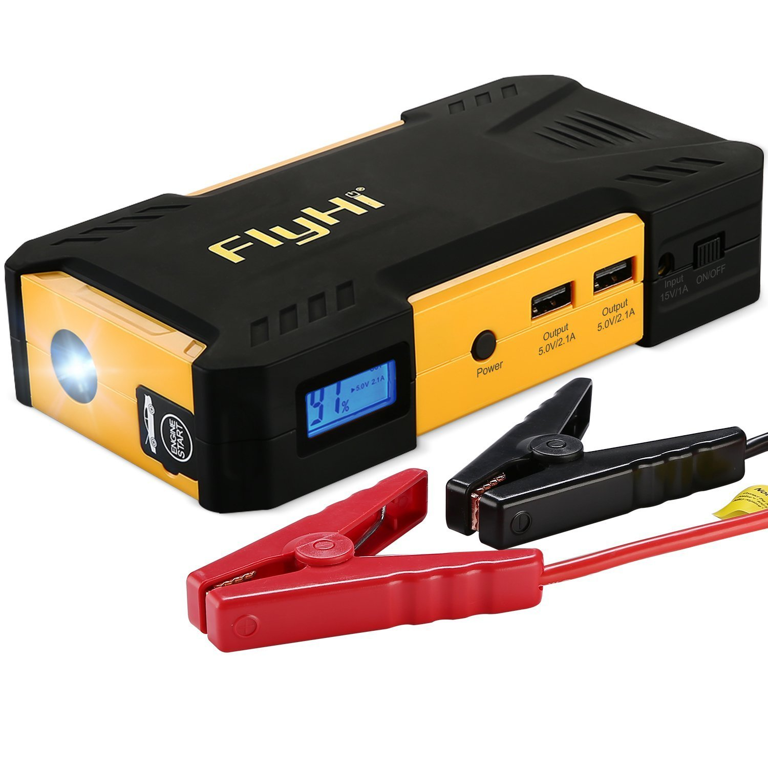 FlyHi 800A Peak 18000mAh Car Jump Starter D12 (Up to 6.5L Gas or 5.2L Diesel Engine) Battery Booster Portable Power Bank with LED Light and Smart USB Output