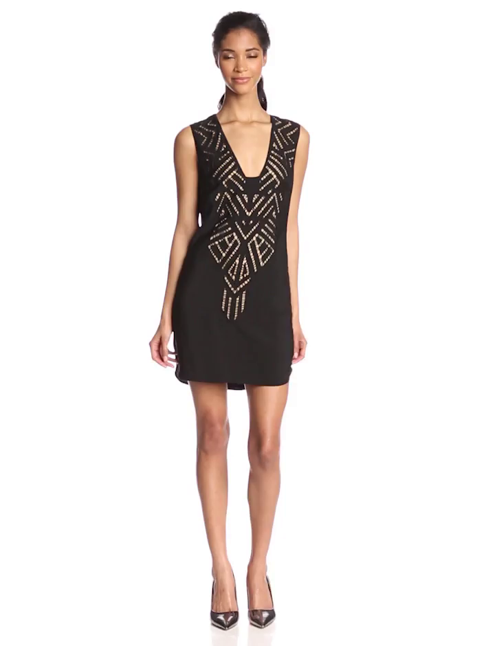 Twelfth Street by Cynthia Vincent Women's Cut-Out Embroidered Shift Dress, Black, Small