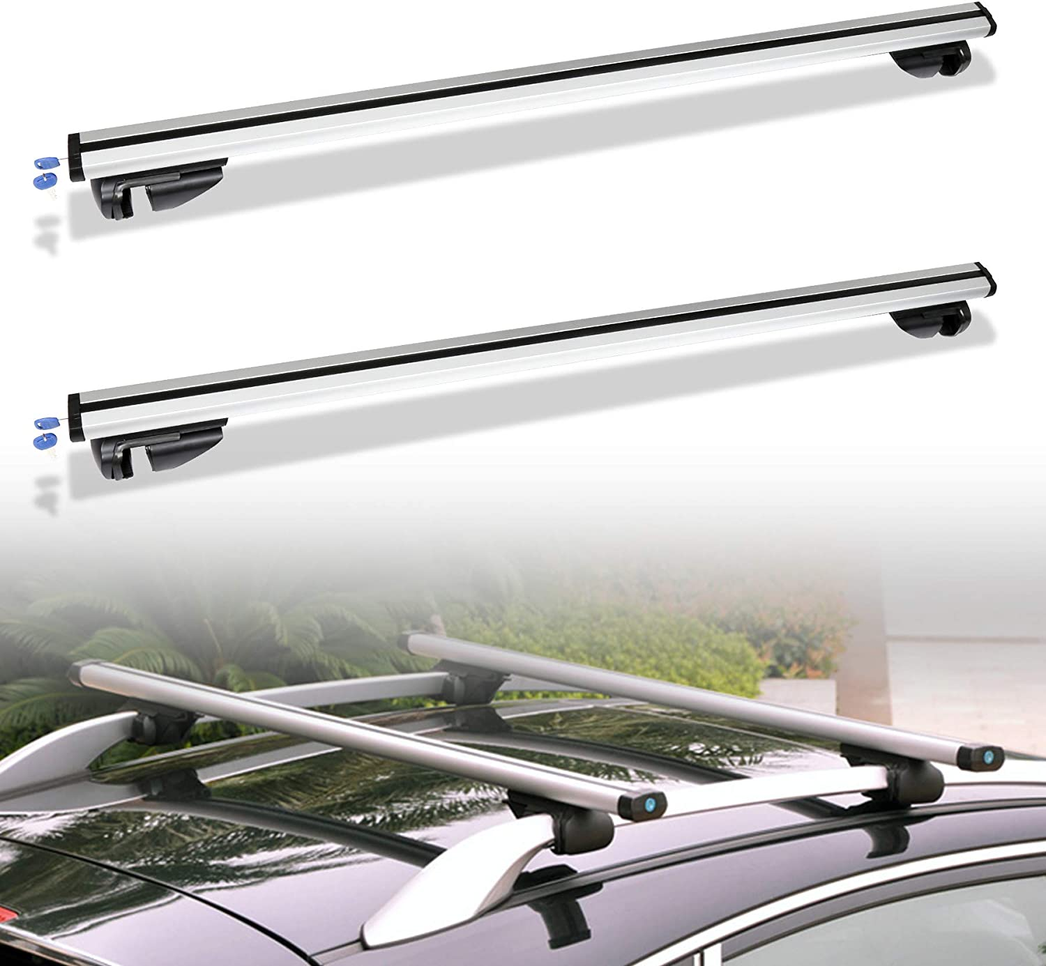 suv Hengda L124 up to 150kg lockable 2 Roof Rail Bar Universal Aluminium carrier for off-road vehicles