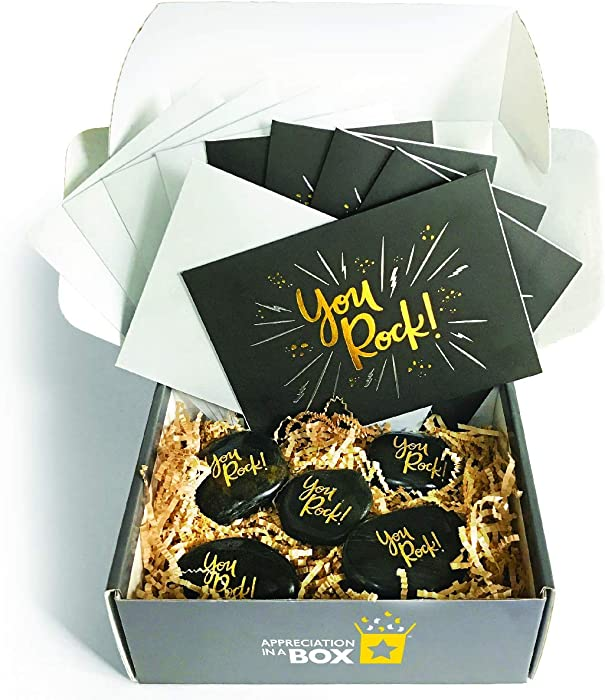 """Appreciation in a Box – Thank You Kit – Set of 5 Small Gifts, Matching""""You Rock"""" Thank You Cards with Envelopes"""