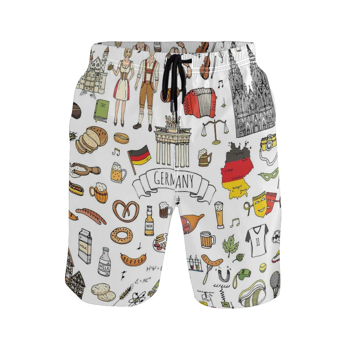 KVMV Geometrical Elements Stripes Swirls Dots Lines and Musical Notes 5size Beach Shorts