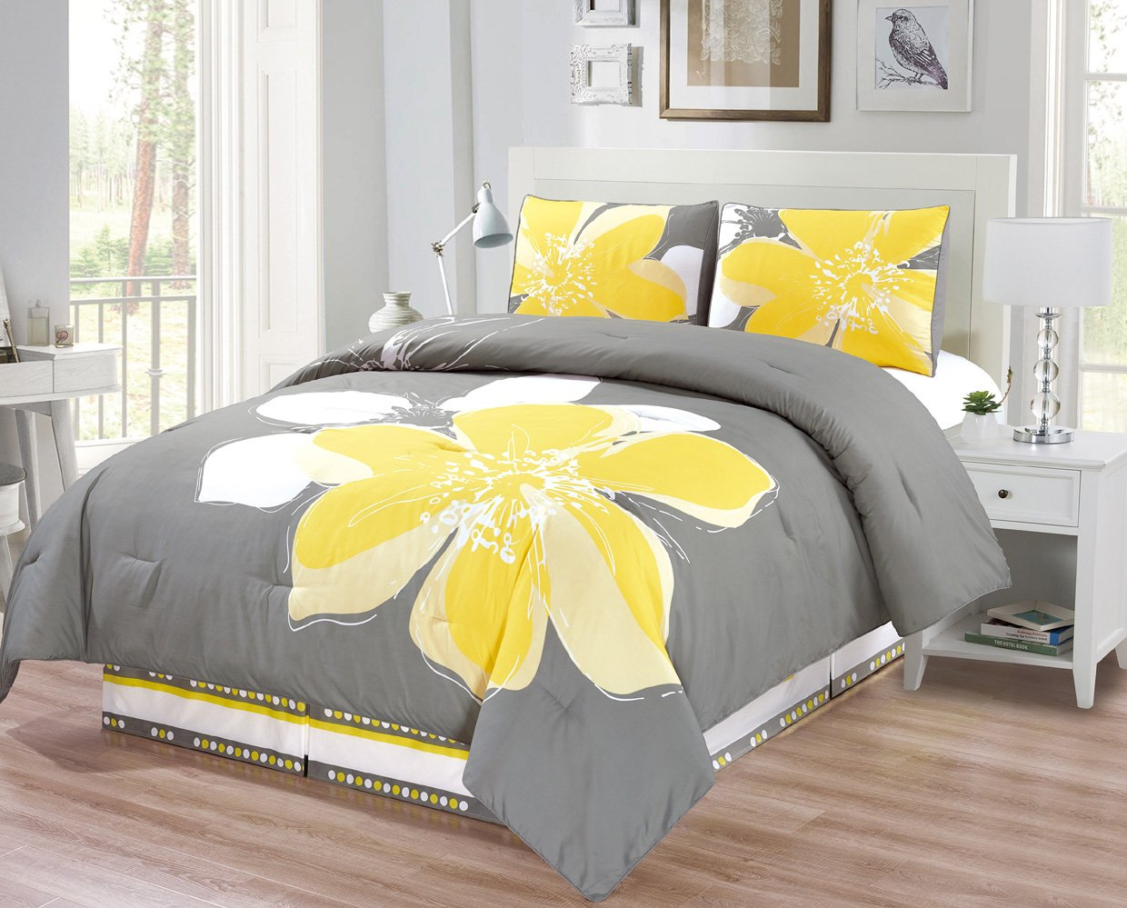 4-Piece Fine printed Comforter Set Reversible Goose Down Alternative Bedding KING (Yellow, Grey, White