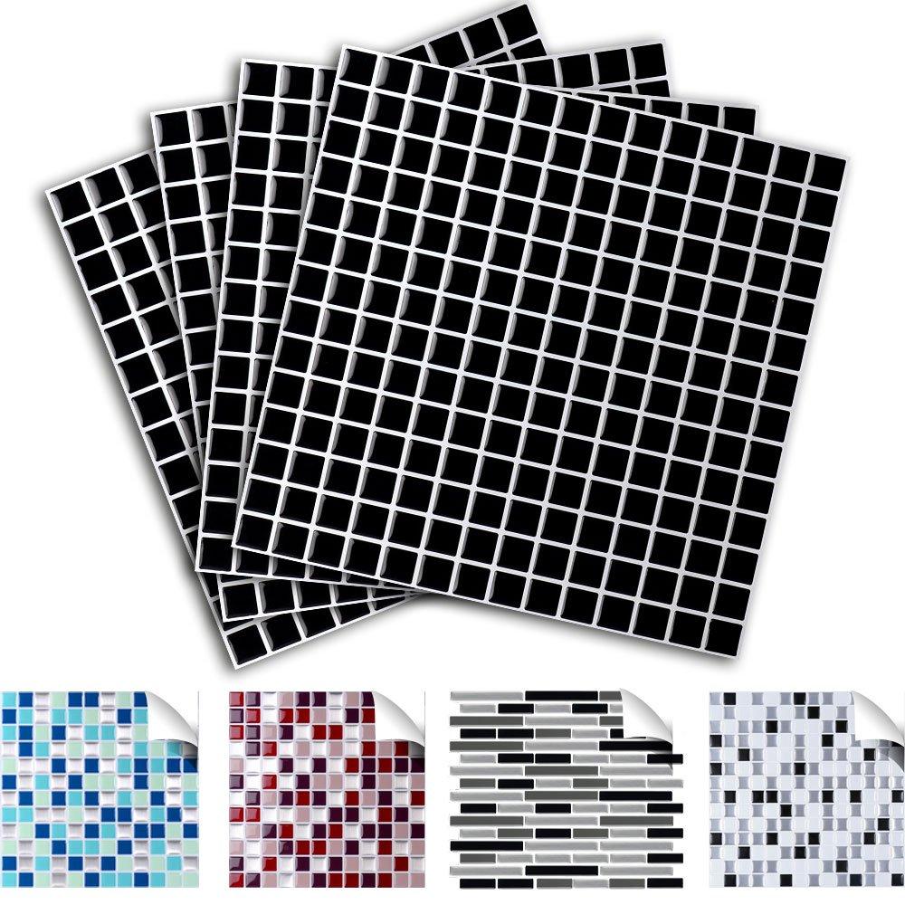 Grandora 4 Piezas Set 25,3 x 25,3 cm Etiqueta Adhesiva para baldosas Negro Design 4 I Autoadhesivo Mosaico 3D Pegatinas Azulejos y baldosas l/ámina de Mosaico Autoadhesivo ba/ño Cocina W5291