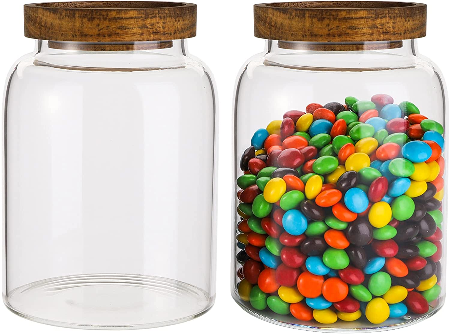 Bekith 2 Pack 42 FL OZ (1250ml) Glass Storage Jars with Wooden Lids, Glass Food Storage Container with Airtight Lid, Glass Pantry Canister for Beans, Rice, Sugar, Coffee and etc