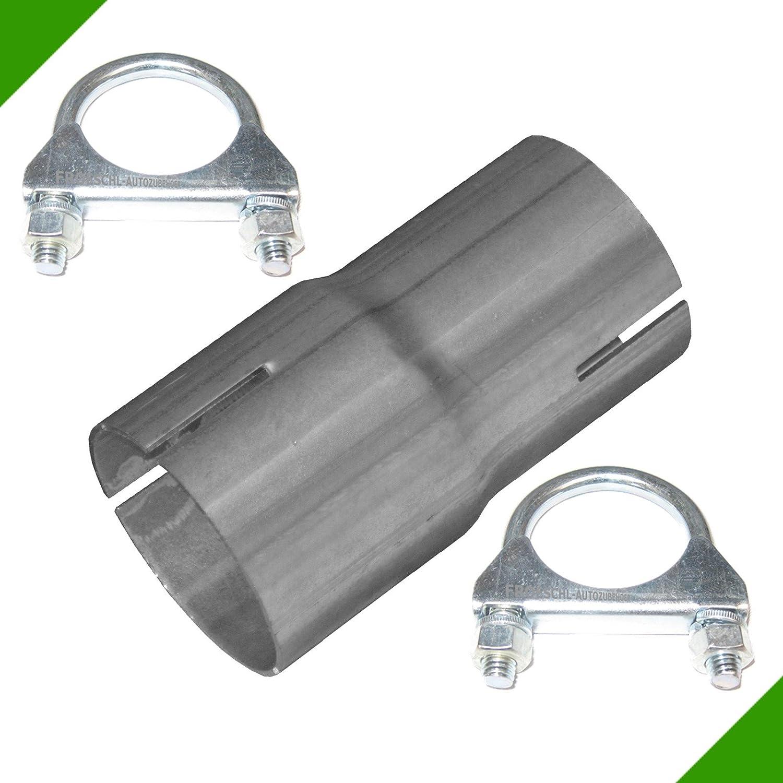 Reduzierst/ück von 45mm auf 50mm Adapter inkl 2 Schellen Rohr Verbindungsst/ück Auspuff Abgasanlage Klemmst/ück Reduzierverbinder Reduktion Reduzierung Rohrverbinder