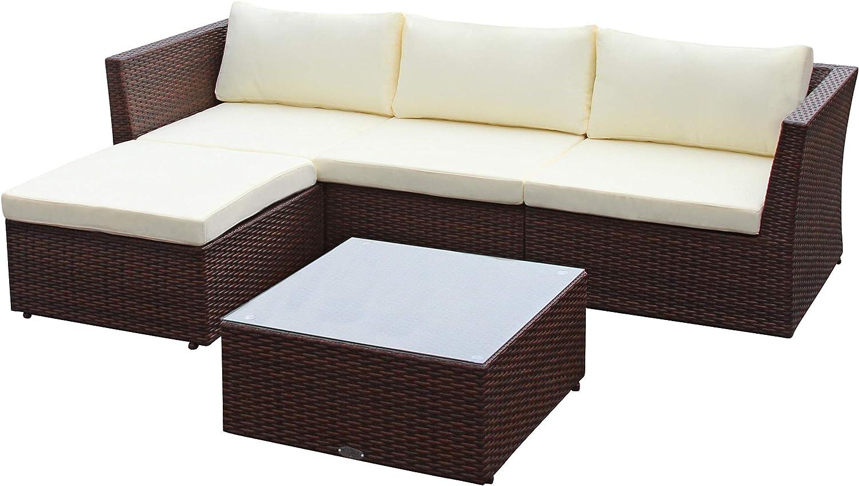 Baidani Poly-Rattan Lounge-Garnitur Starlight, braun, inkl. zusätzlicher Bezug in grau
